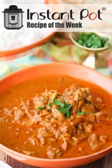 Instant Pot Butter Chicken in a red bowl