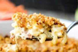 Mac n cheese with roasted cauliflower and smoked bacon recipe