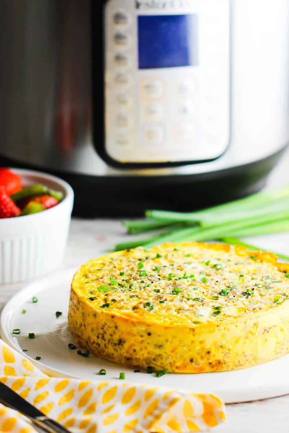 Instant Pot cheesy sausage and ham frittata recipe