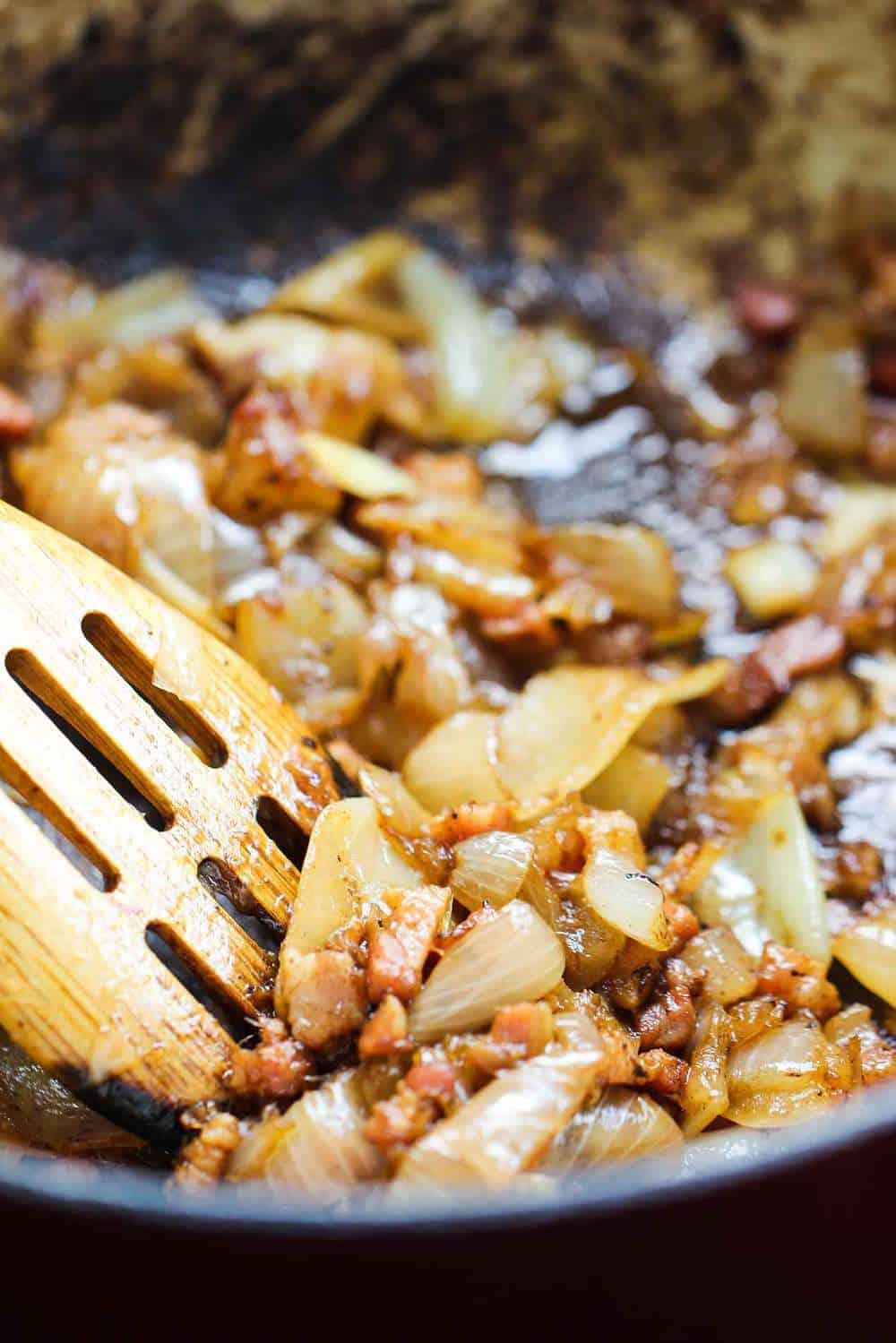 Ribeye with Gorgonzola and Caramelized Onion Sauce recipe