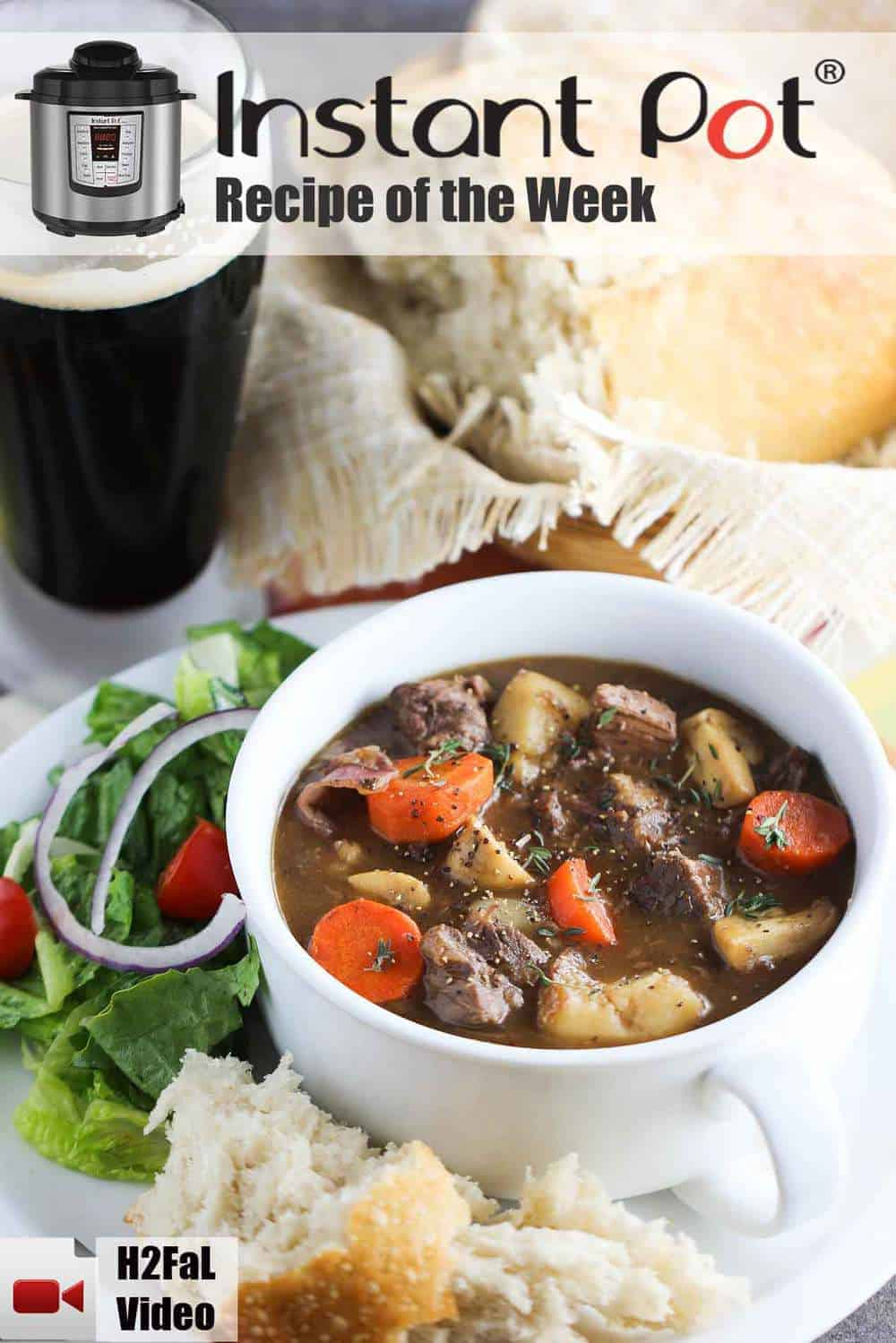 A white bowl of Instant Pot Irish Guinness Beef Stew on a plate with a beer next to it