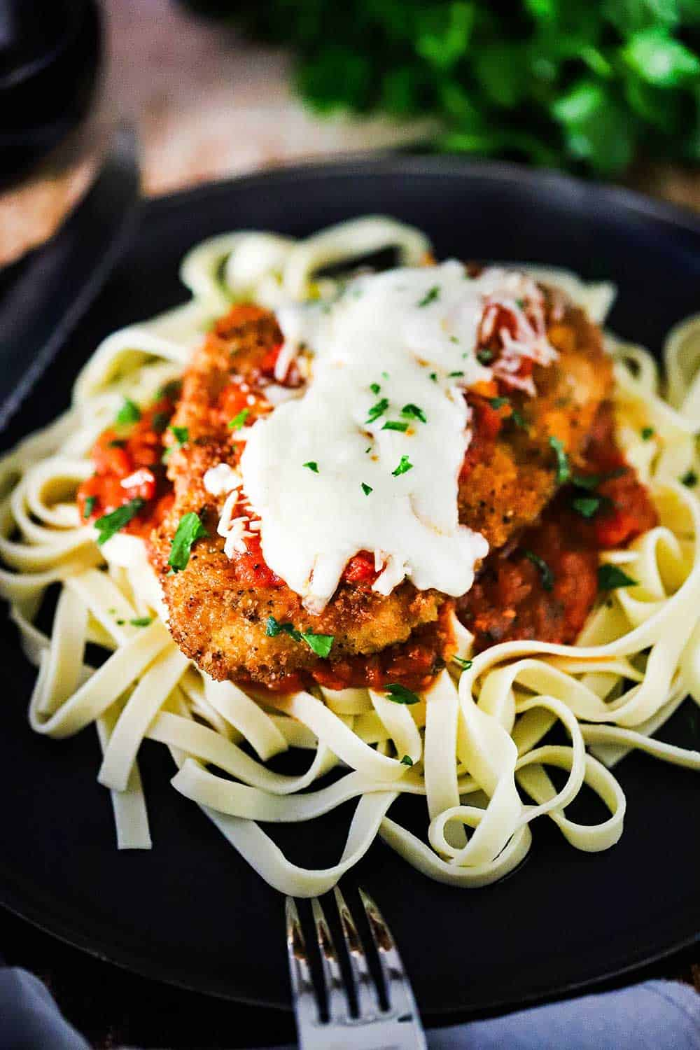 A black dinner plate filled with a pile of cooked fettuccine topped with a chicken parmesan cutlet topped with melted mozzarella cheese.