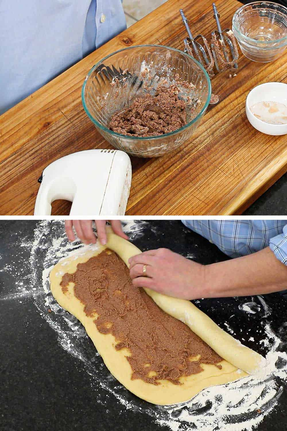 A bowl on a cutting board filled with softened butter that has been mixed with sugar and cinnamon, and then that mixture spread on dough that is being rolled up.