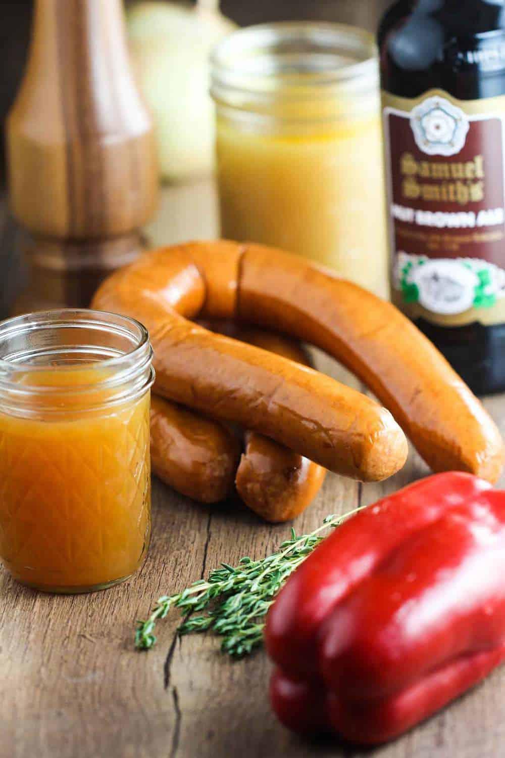 Beer-Braised Kielbasa with Peppers recipe