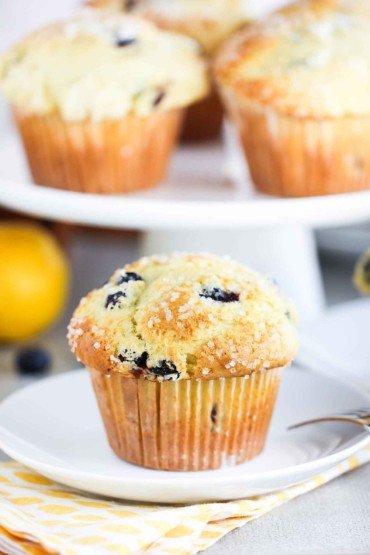 Lemon Olive Oil and Blueberry Jumbo Muffin on a white plate on top of a patterned napkin