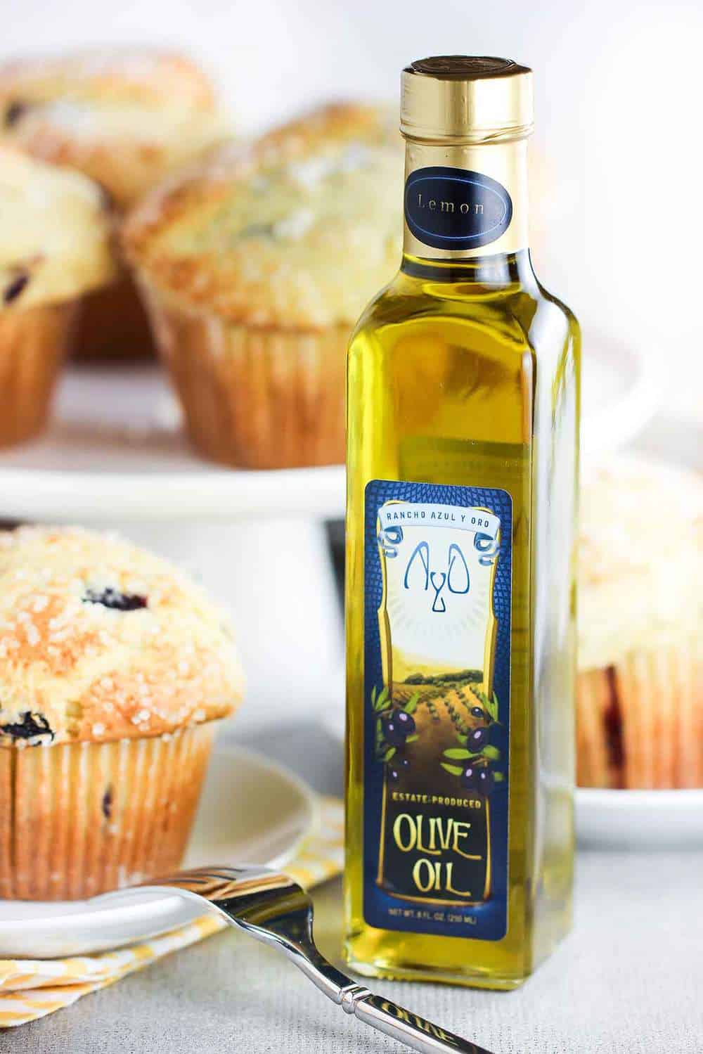 Lemon Olive Oil and Blueberry Jumbo Muffins recipe