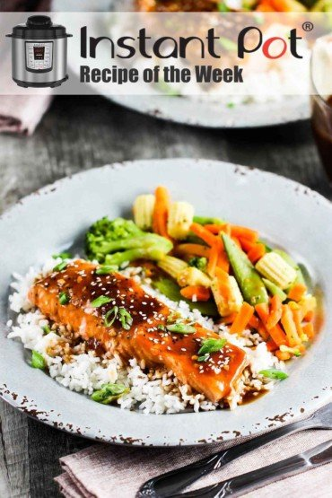 Instant Pot Teriyaki Salmon on a white plate