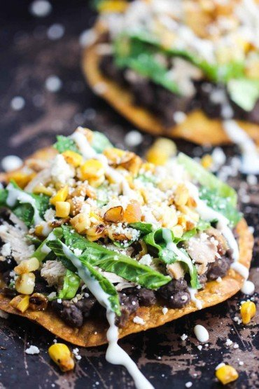 Black Bean and Roasted Chicken Tostada recipe