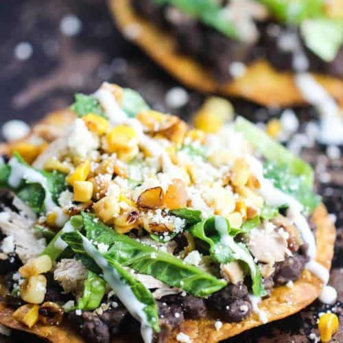 Black Bean and Roasted Chicken Tostada