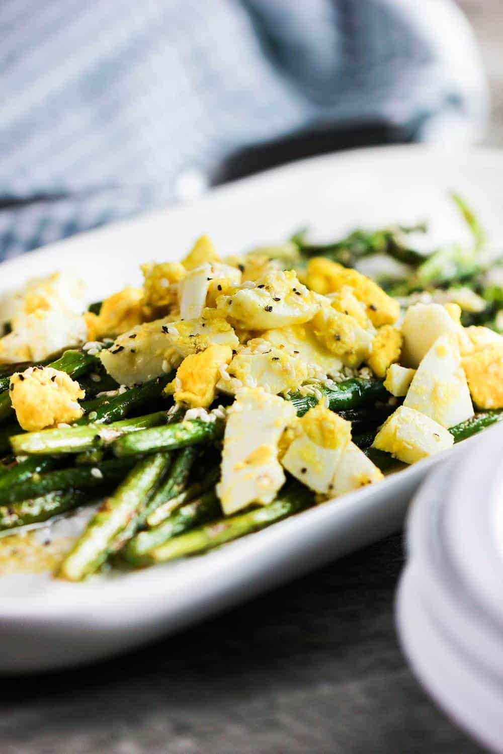 Roasted Asparagus, Sesame and Chopped Egg Salad recipe