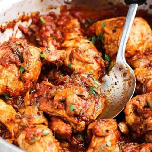 Classic Chicken Cacciatore in a silver pan