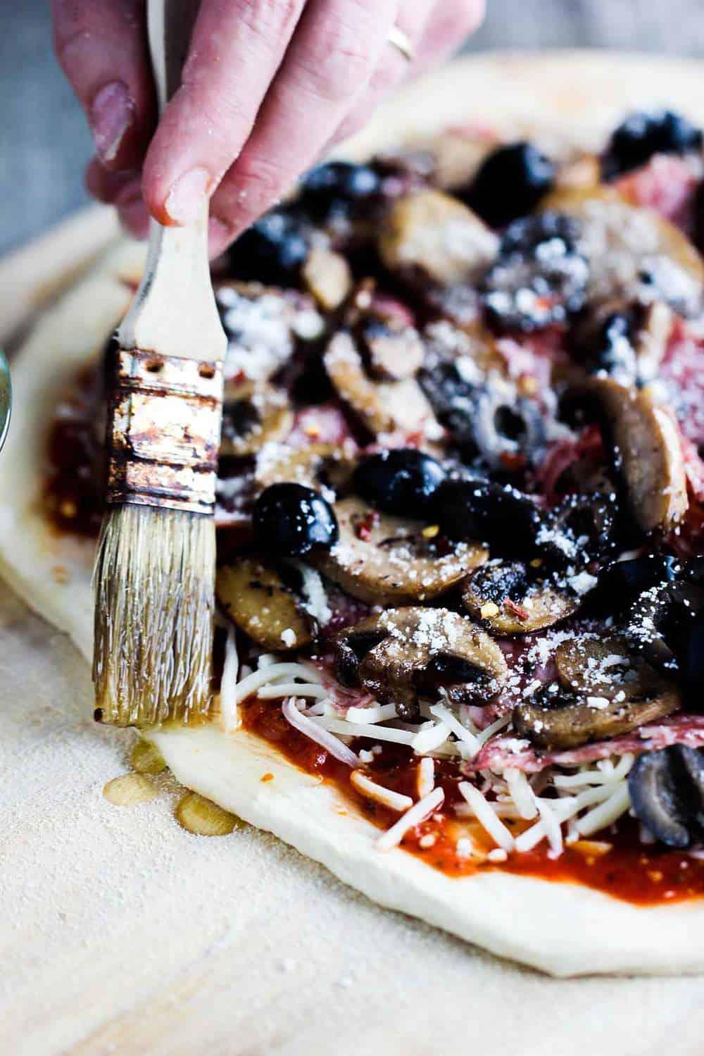 Soppressata, Mushroom and Black Olive Pizza recipe