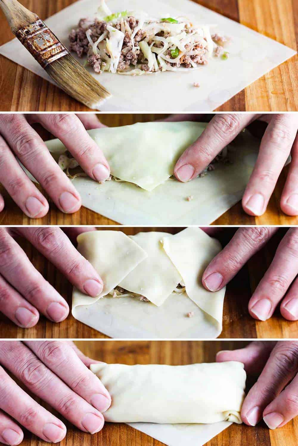 rolling homemade egg rolls is easy
