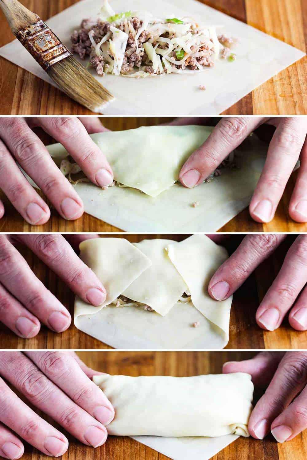 rolling homemade egg rolls is easy