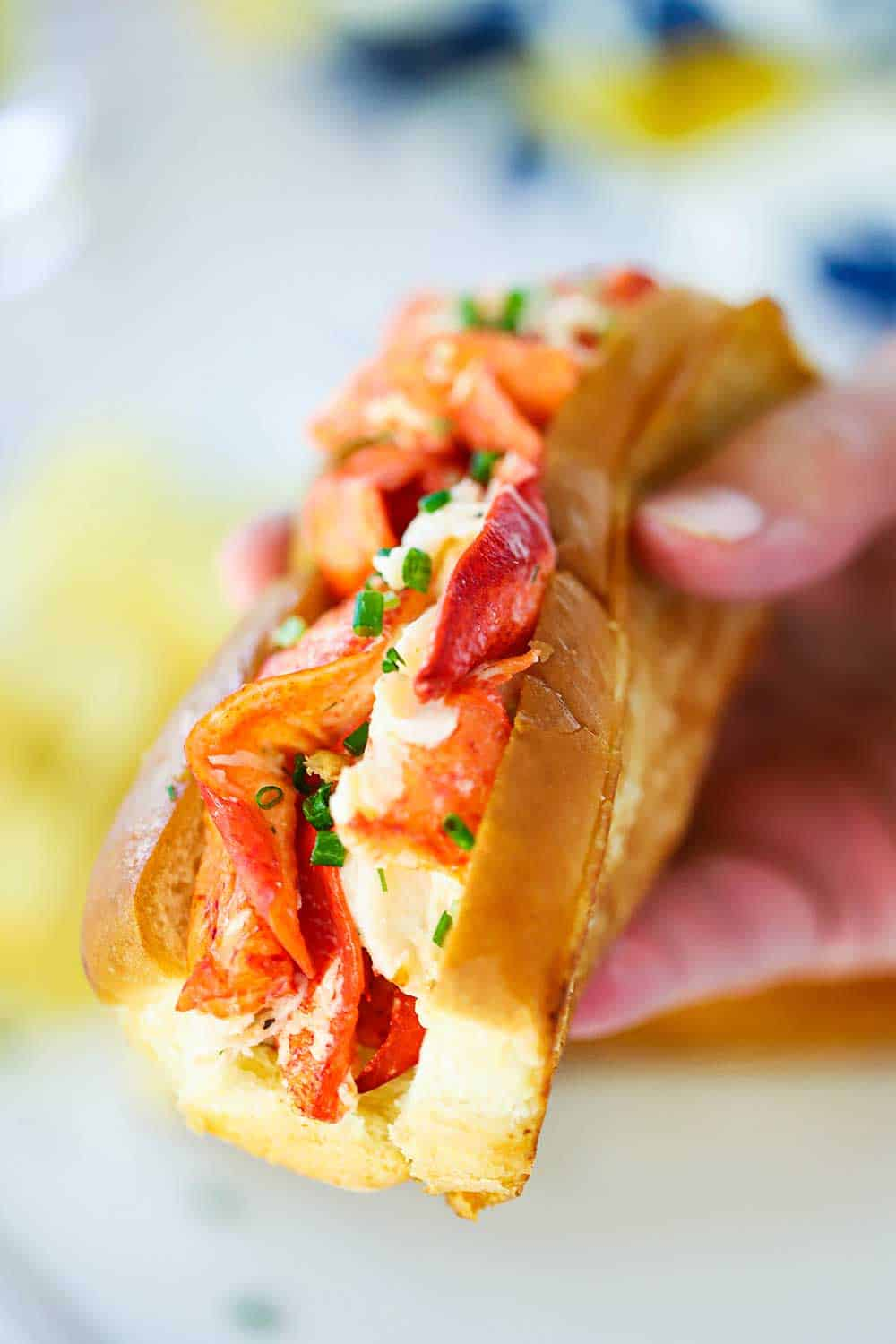 A hand holding a lobster roll with lots of pink lobster meat and a toasty bun right in your face.