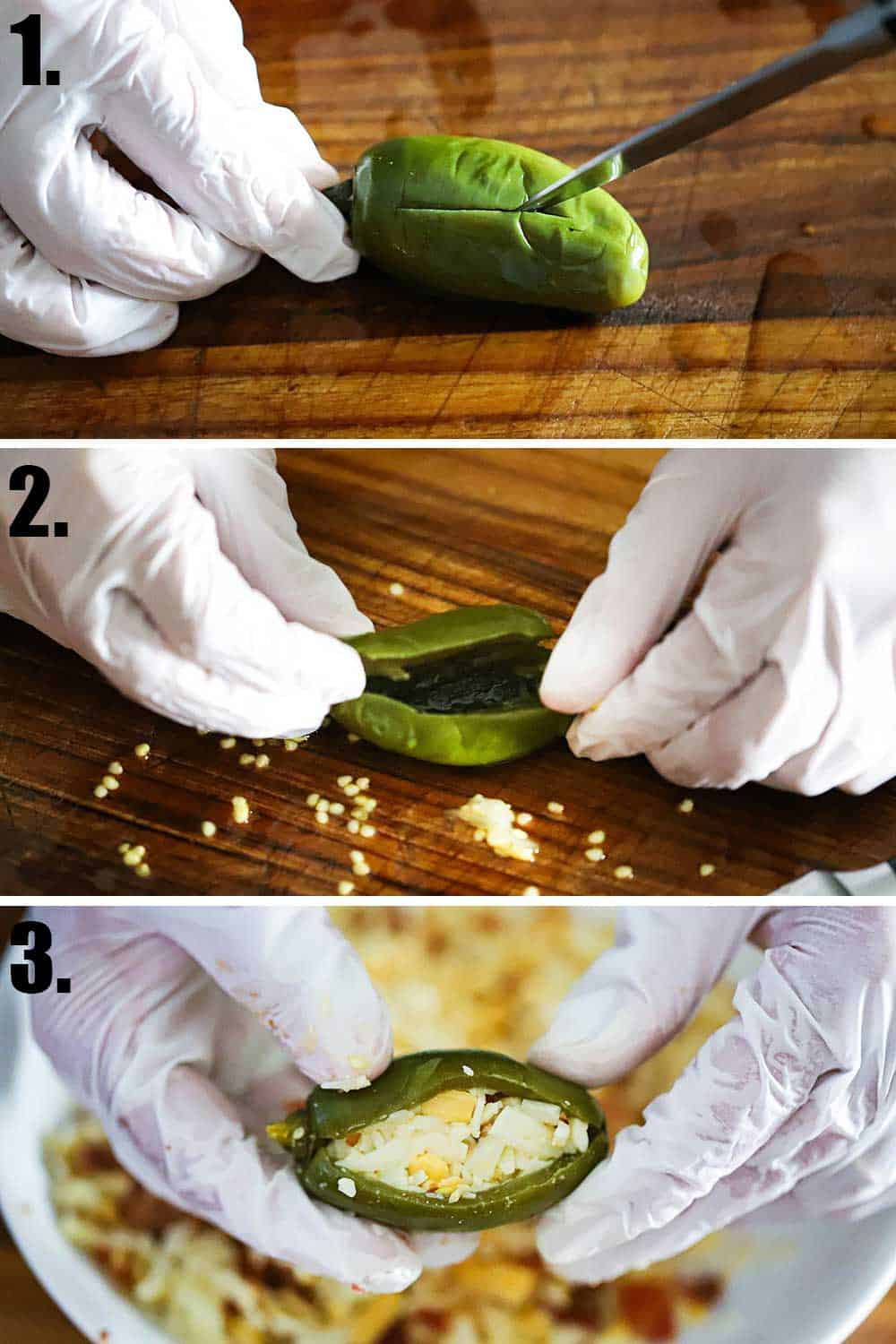 3 stacked images, top is a jalapeño being sliced lengthwise, next is removing the seeds, next is it stuffed with cheese.