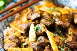 Thai Beef with Red Curry in a bowl