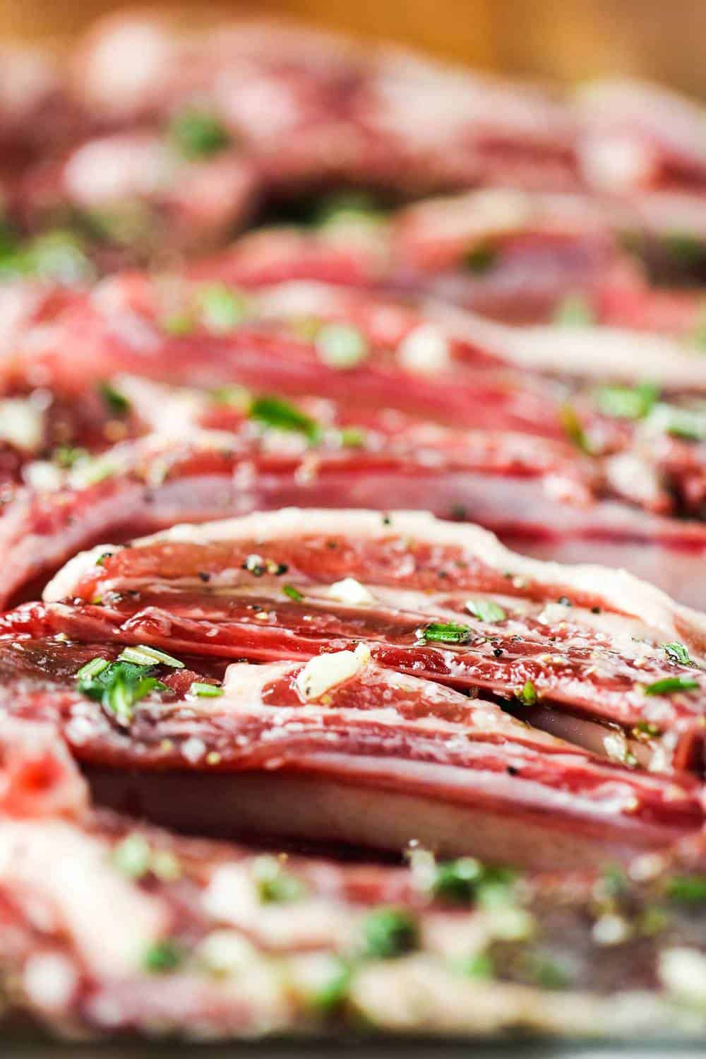 Lamb lollipops in marinade
