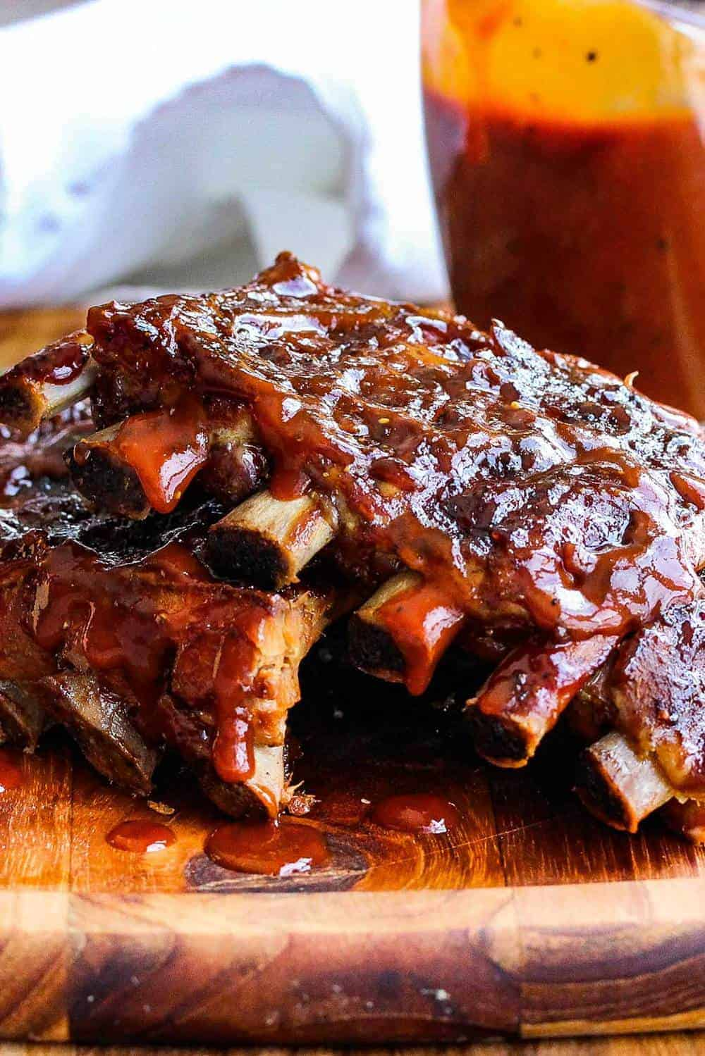 Slow Cooker Baby Back Ribs on a cutting board