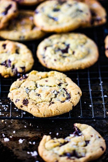 Classic chocolate chunk cookies on a wire rack