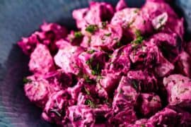 Beet and potato salad with dill dressing