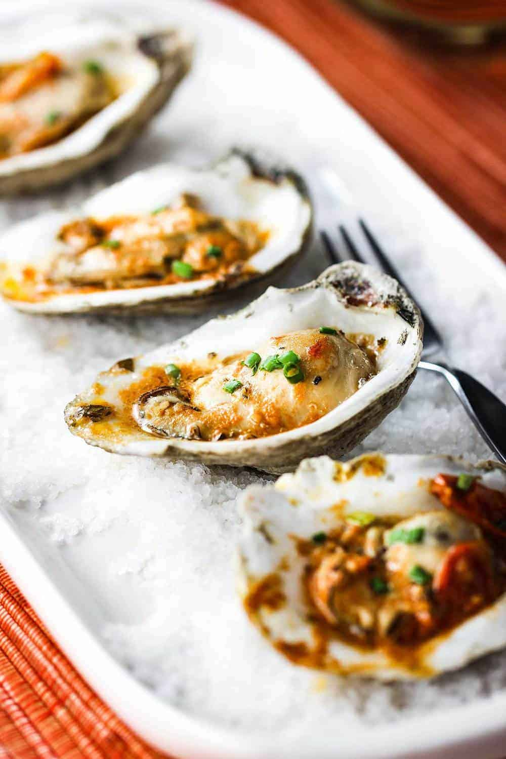 Grilled oysters with roasted tomato butter on a white dish with rock salt