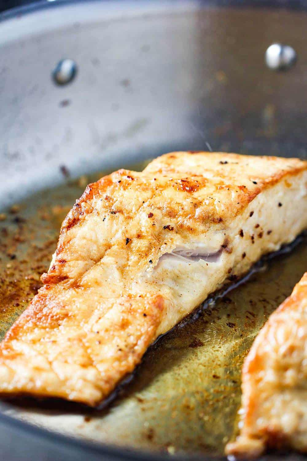 Wild striped bass being seared in a large skillet with olive oil.
