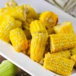 Corn niblets in a white bowl.