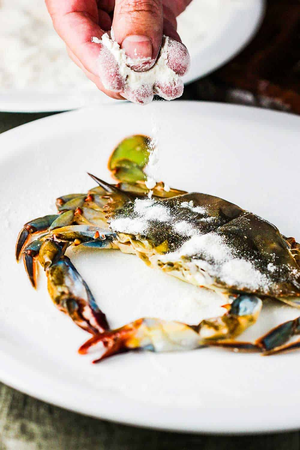 Fingers sprinkling flour over a soft-shell crab.