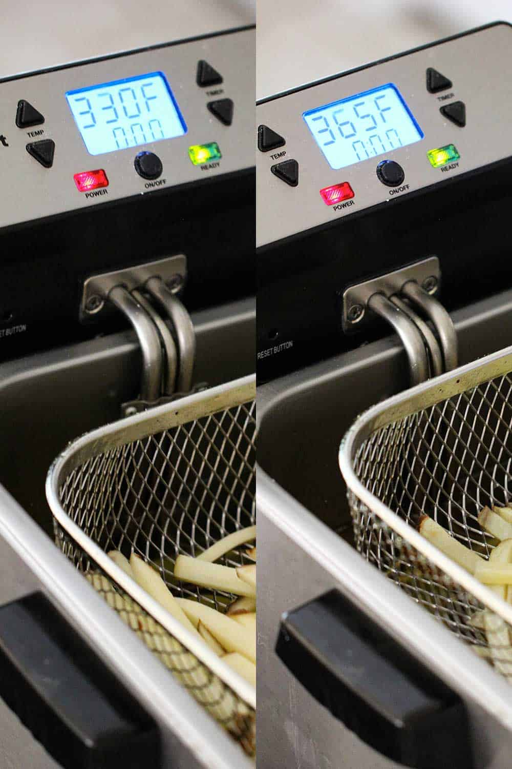 Side-by-side view of a deep fryer holding French fries, at different temperatures.