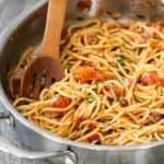 A skillet full of pasta pomodoro