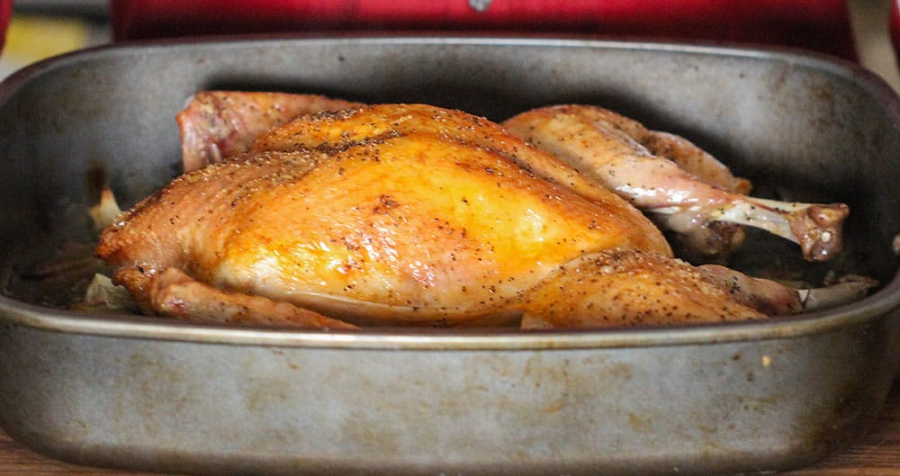 A roasted spatchcocked turkey in a large roasting pan.