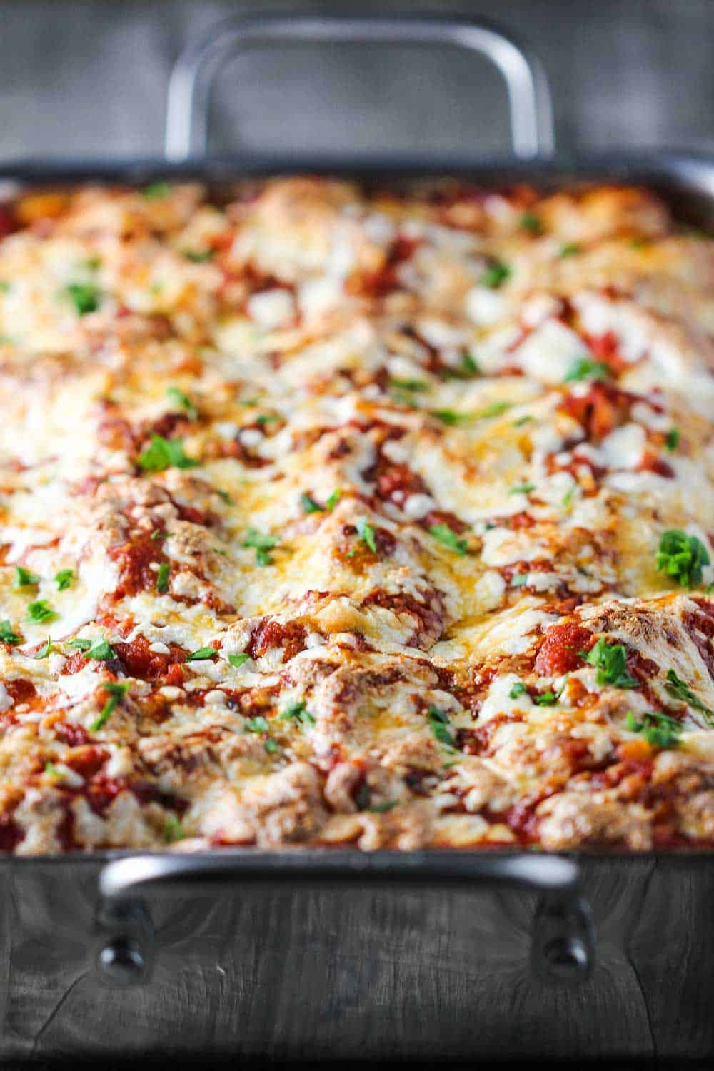 A pan of baked classic meat lasagna
