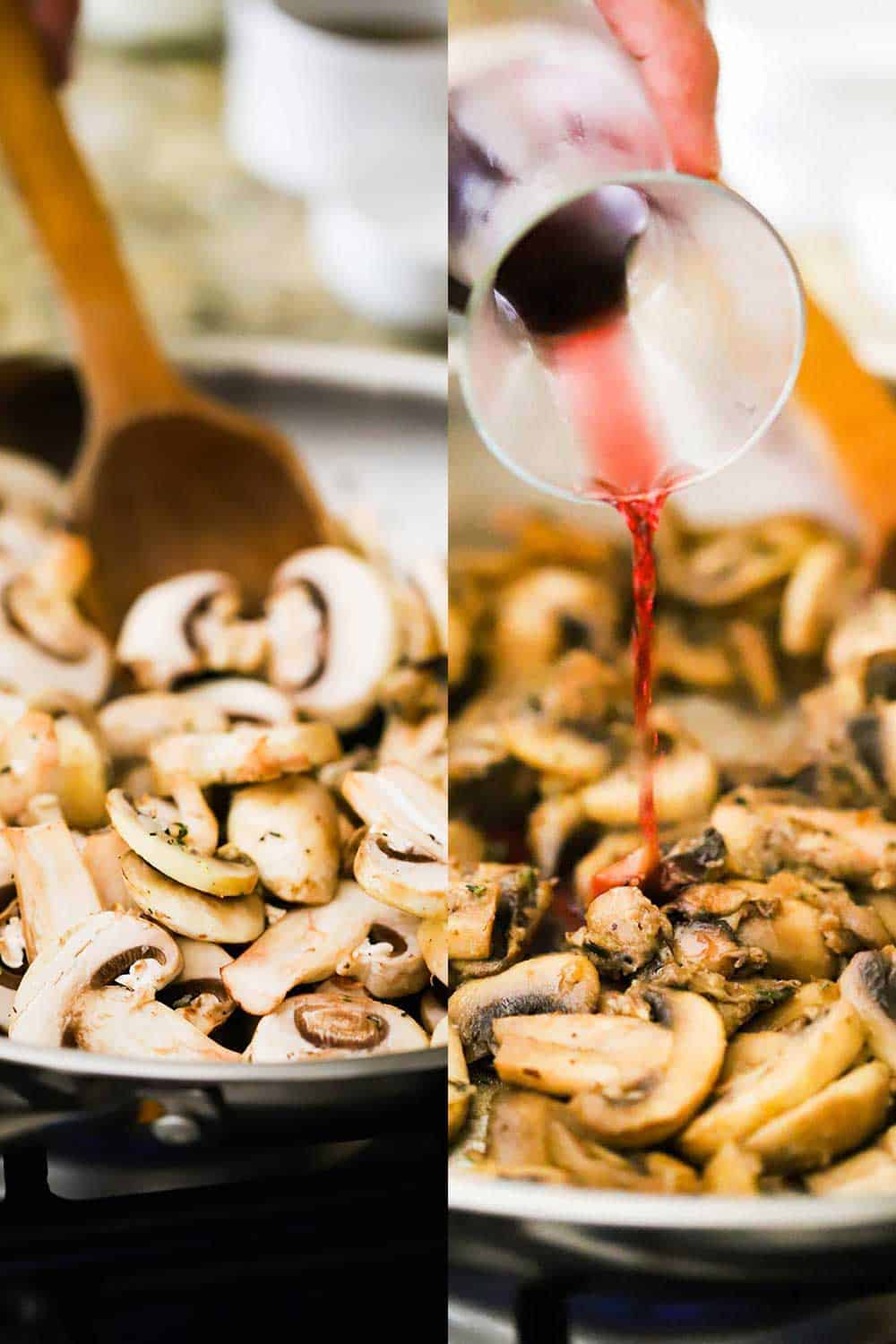 Two side by side photos, the first of sliced mushrooms in a skillet with a wooden spoon and the second photo is red wine being poured into the skillet with the mushrooms.