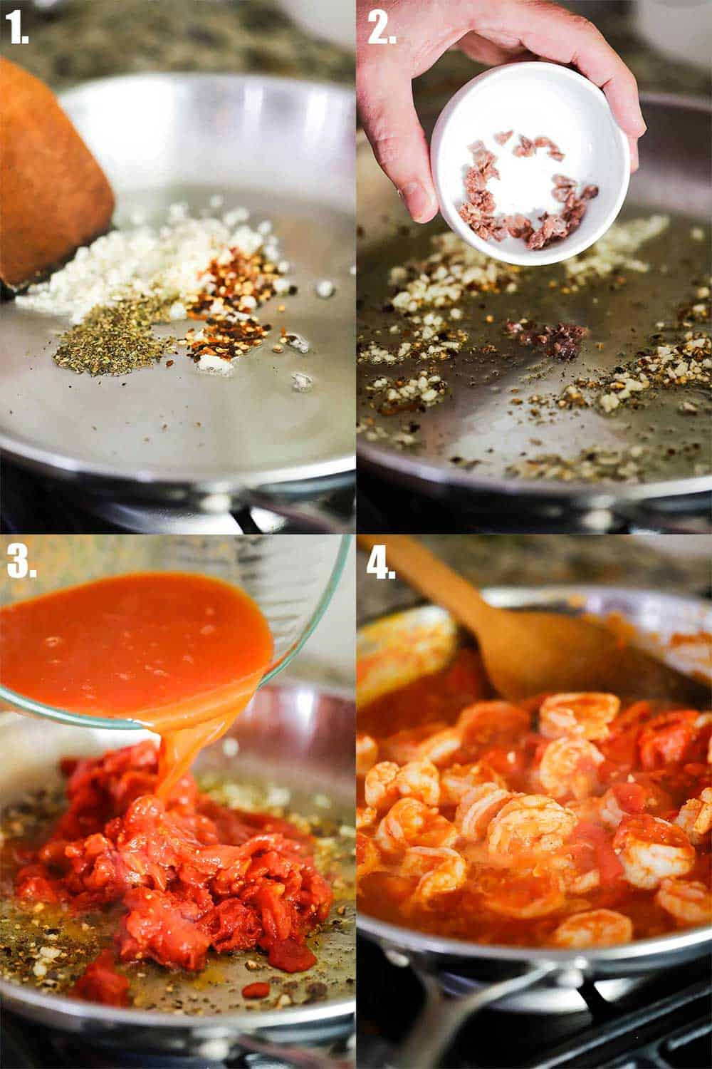 4 images of a large skillet on a stove. 1st image garlic, red pepper flakes and dried oregano. Next, chopped anchovies being dropped in. Next, tomato sauce and tomatoes being dropped in from a bow;. And last shrimp simmering in the sauce.