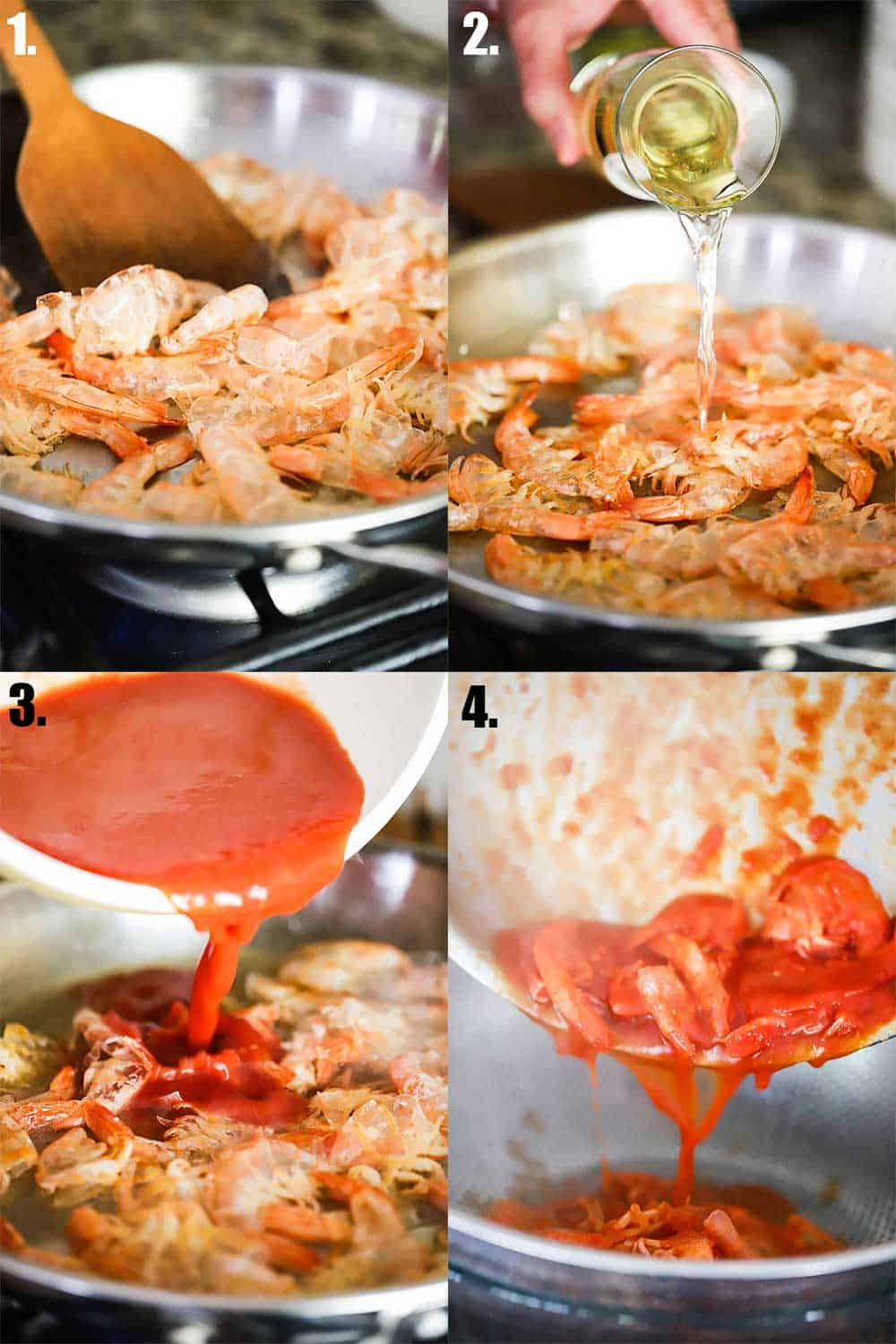 4 images of a large skillet on a stove. The first has shrimp shells simmering in olive oil. Next, white wine being poured in. Next, tomato sauce, and then last, the mixture being poured into a colander over a glass bowl.