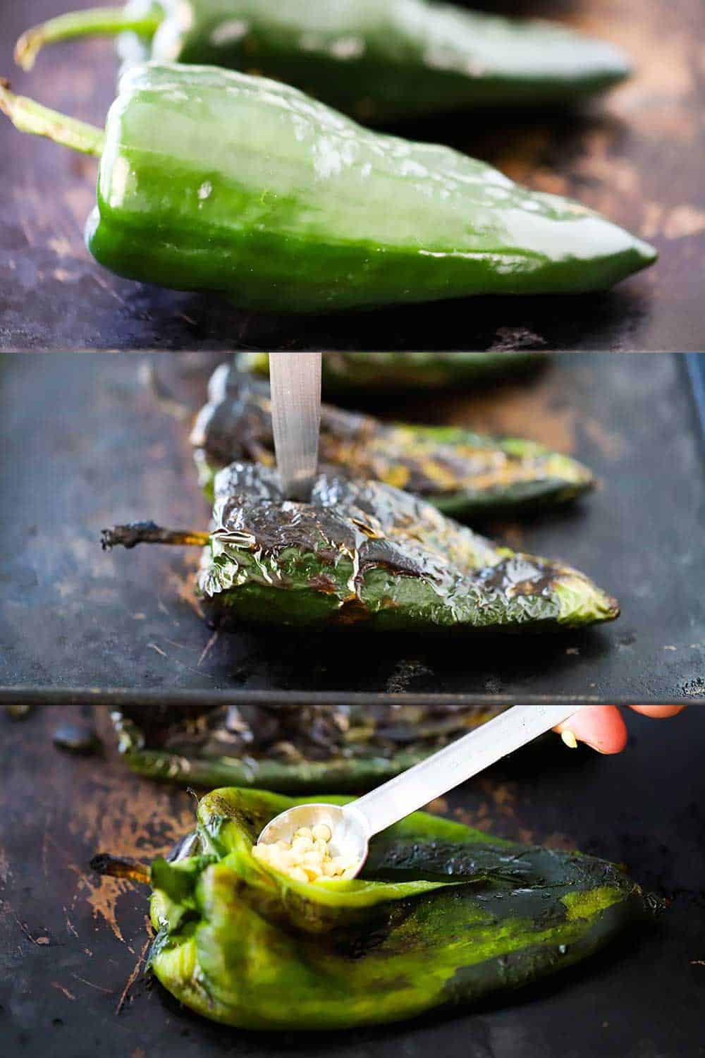 3 stacked images, the top are poblanos peppers on a baking sheet, and the next are roasted poblanos and the bottom image is a hand removing seeds with a spoon.
