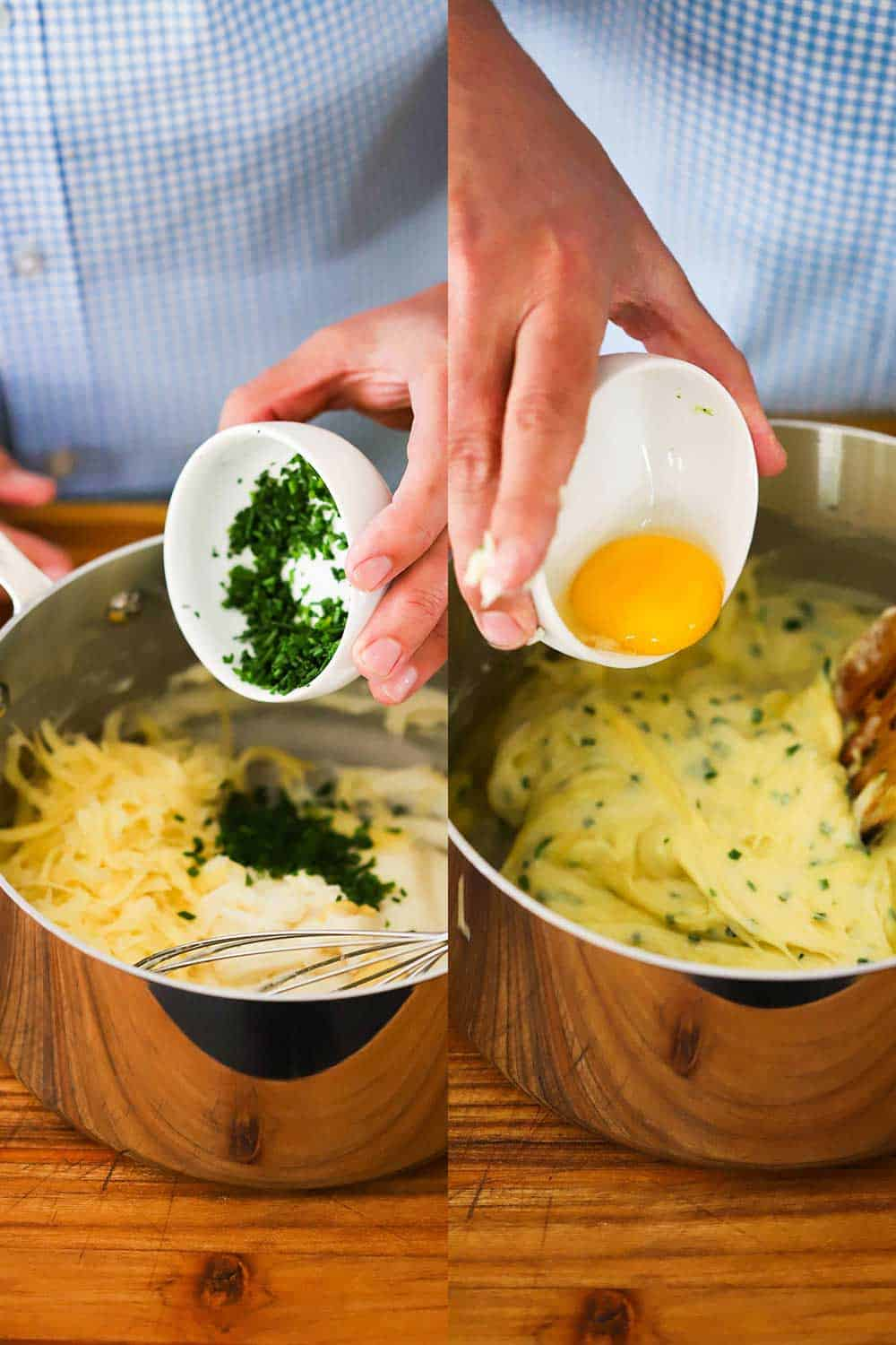 2 side by side images with the one on the left being a hand dumping a small bowl of chives into a pan filled with a souffle mixture and the one on the right of a hand lowering an egg yolk into the same pan.