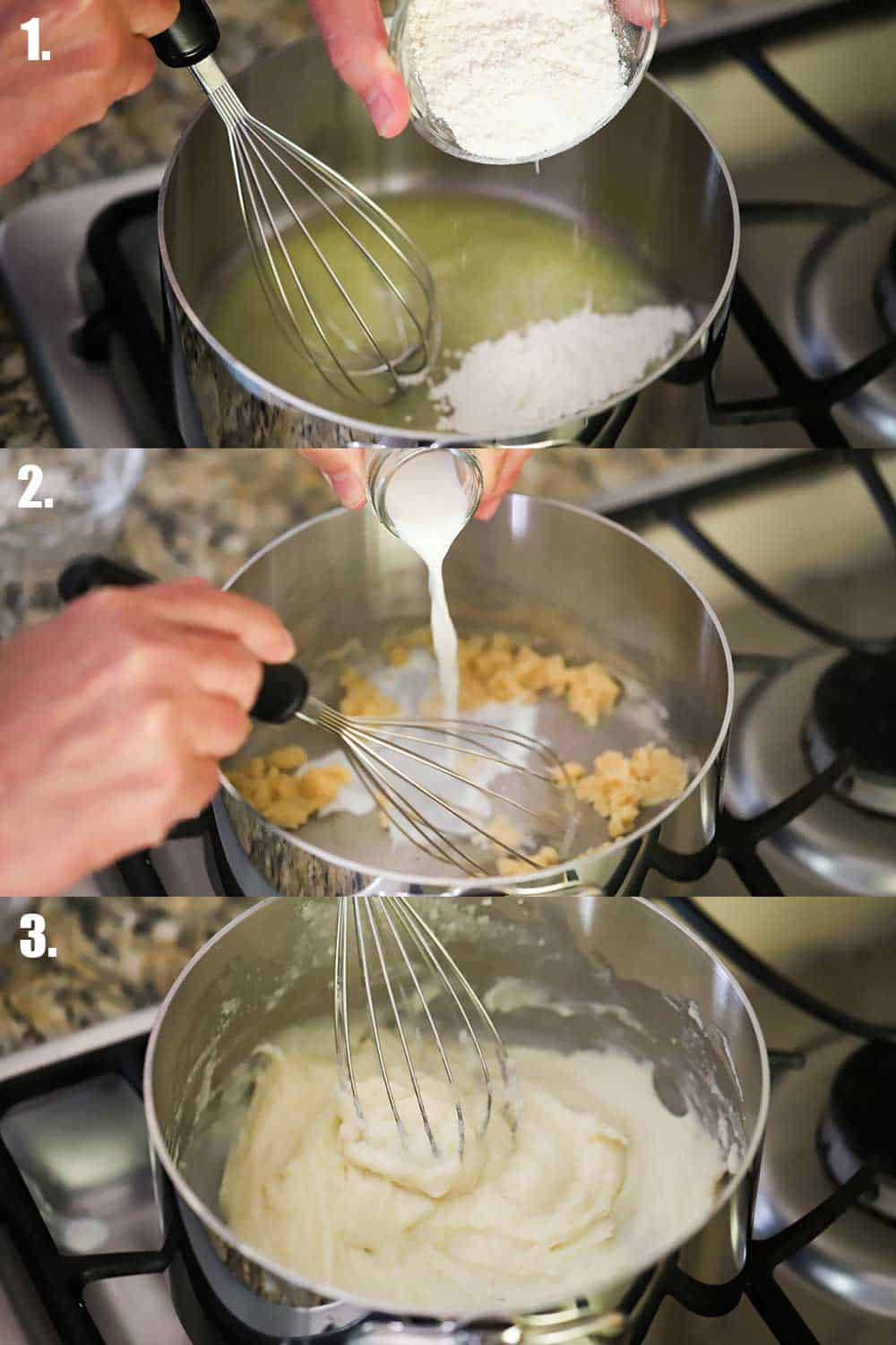 Three stacked images with the top showing flour being dropped into pan with melted butter, then next of milk being poured into the pan with a roux, and the bottom a whisk stirring the bechamel sauce.