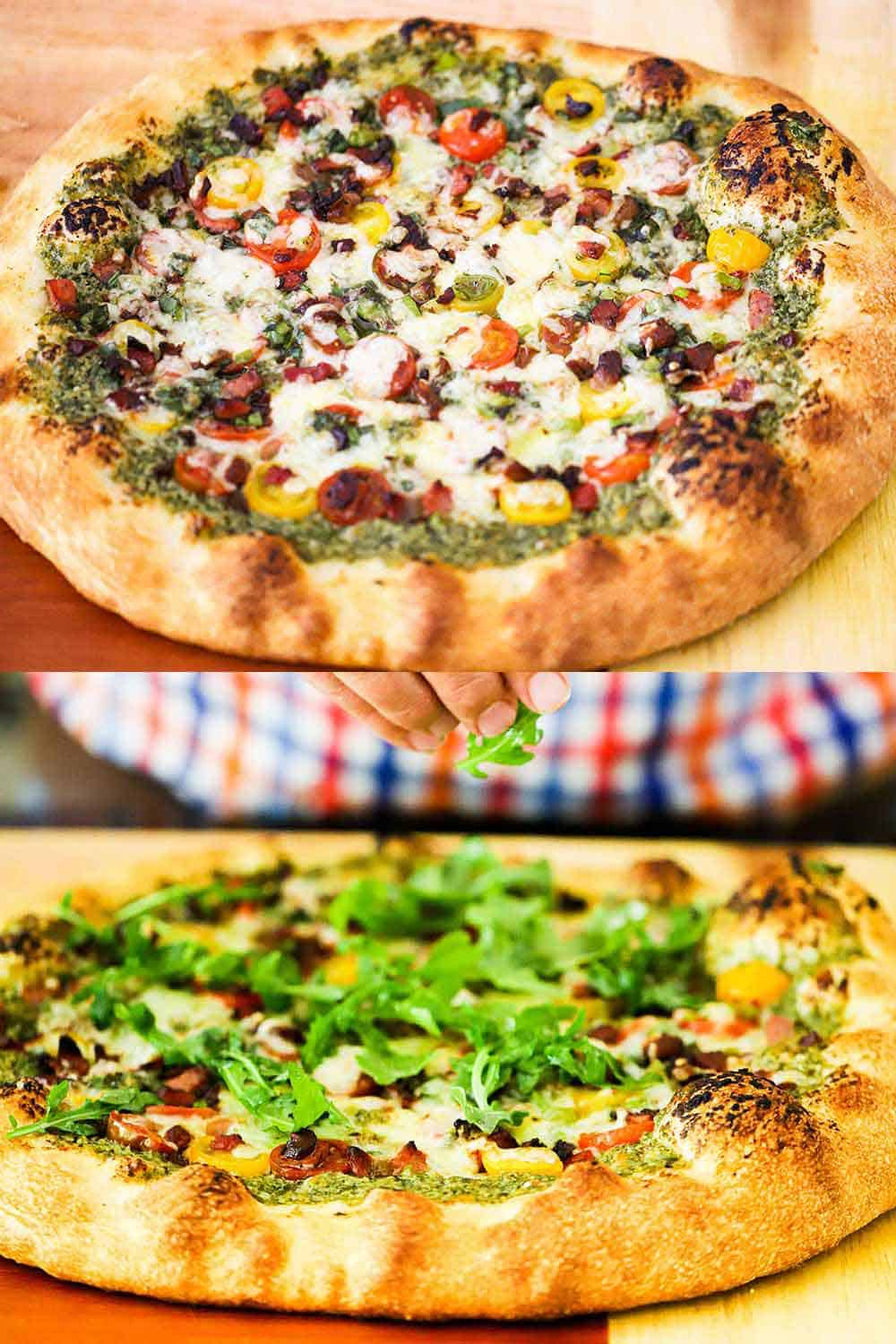 Two stacked images with the top being a freshly baked BLT pizza on a wooden cutting board and the bottom is the same pizza with a hand sprinkling arugula on top.