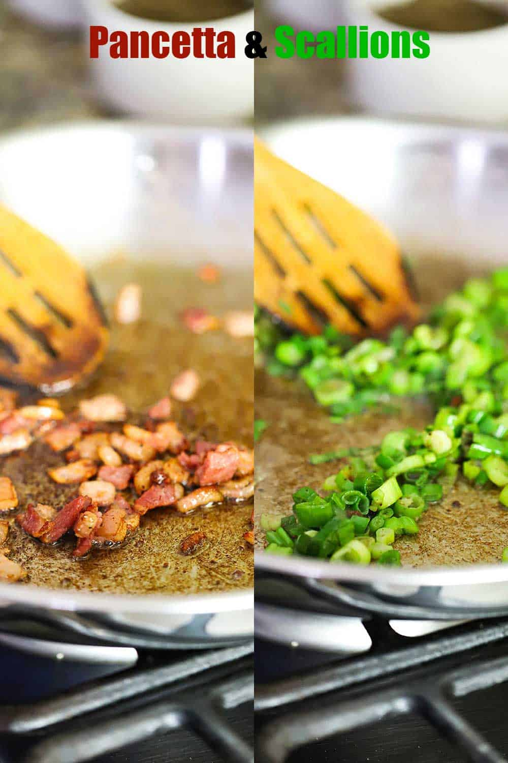 2 side by side images with the one on the left being pancetta cooking in a large silver skillet and the right being chopped green onions cooking in the same skillet.