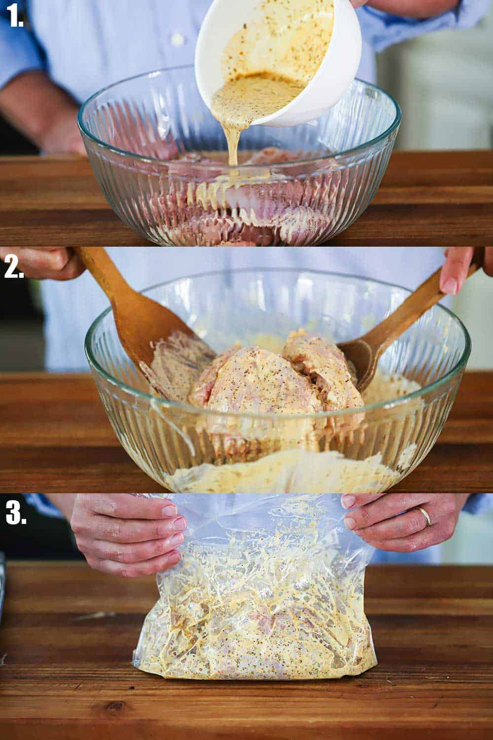 3 stacked images with the top being gyro marinade being poured over chicken in a bowl, the 2nd two wooden spoons tossing the chicken in the marinade, the 3rd the chicken being pressed in a large freezer bag.