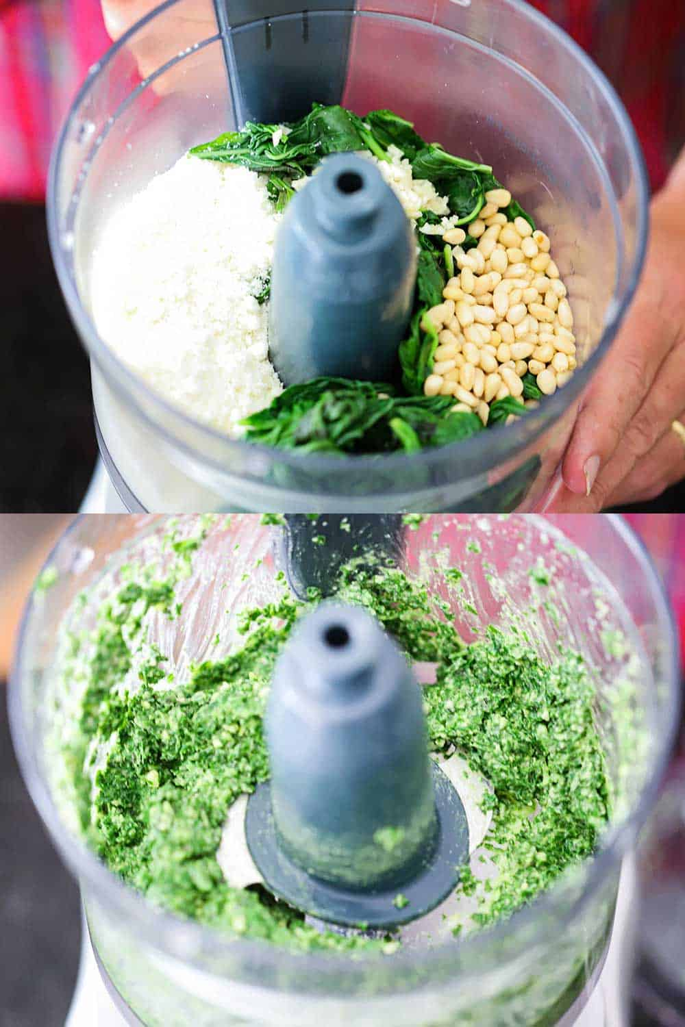 2 stacked images with the top of a food processor filled with basil leaves, pine nuts, grated parmesan cheese, and garlic and the bottom image after it has all been processed.