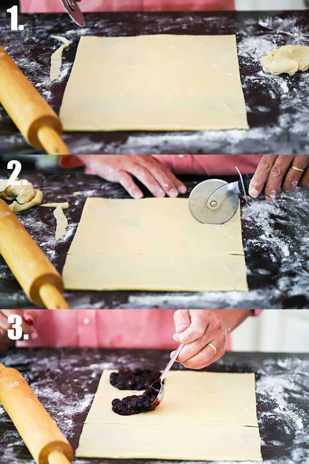 3 stacked images with the top being a large rectangle of dough on a floured black marble countertop, and the middle is a hand using a cookie cutter to cut the dough into the 3rds lengthwise, and the bottom is a hand spoon blueberry filling onto one end of the dough strips.