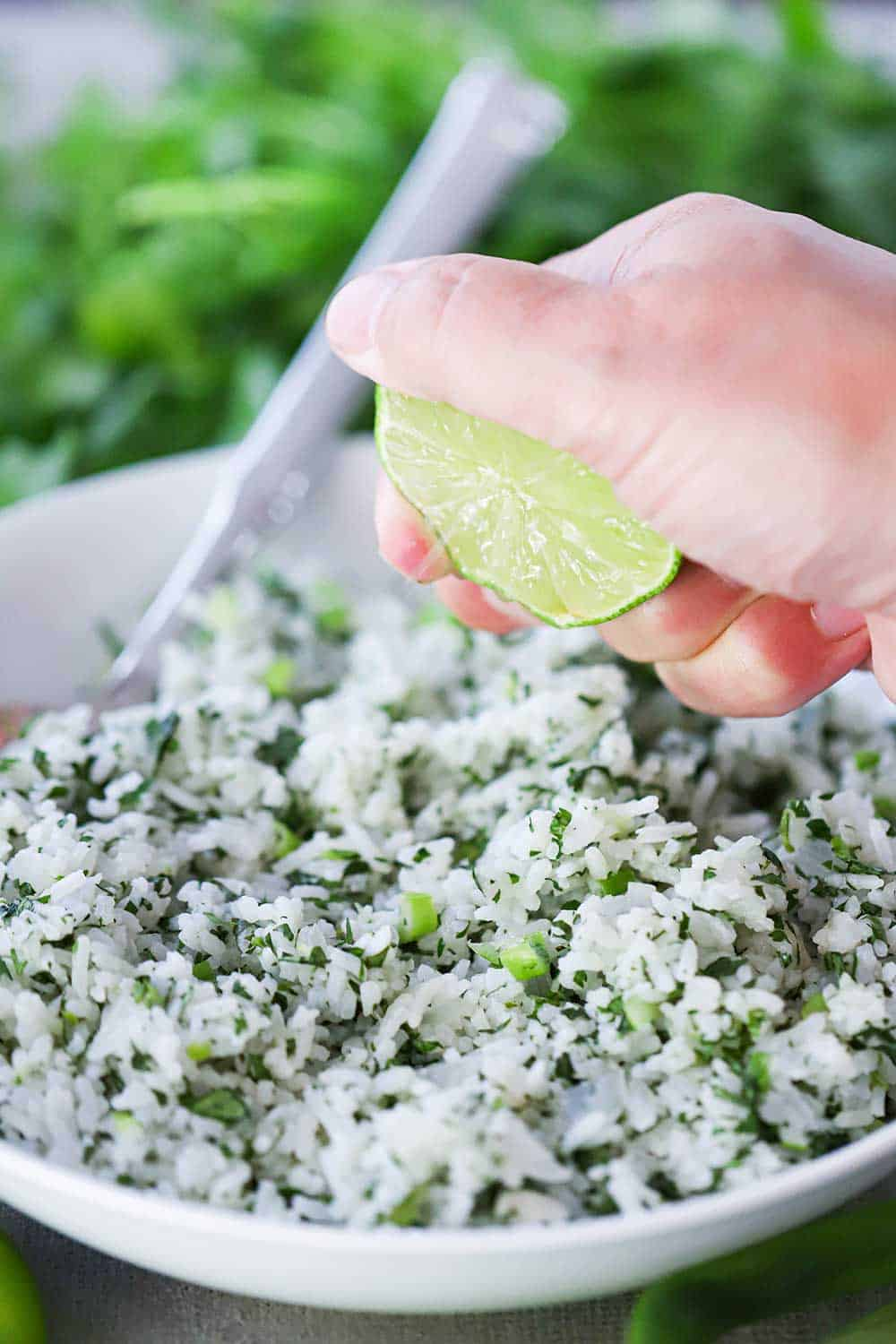 A hand squeezing a lime wedge over a white bowl filled with cilantro lime rice with a spoon in it, sitting next to fresh cilantro.
