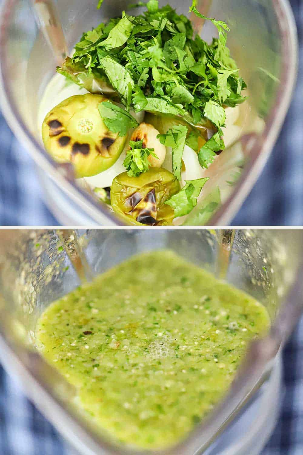 2 stacked photos, the top a view looking into a blender filled with roasted tomatillos and pepper, and the bottom image the same blender with the vegetables puréed.
