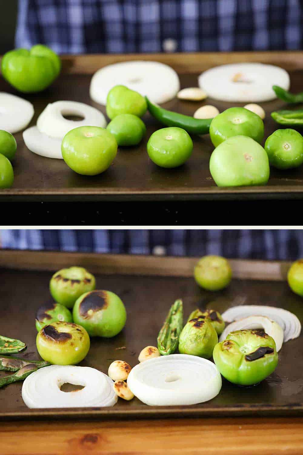 2 stacked photos, the top a baking sheet filled with tomatillos, serrano peppers, and sliced onions, and the bottom photo of the same vegetables after being roasted.