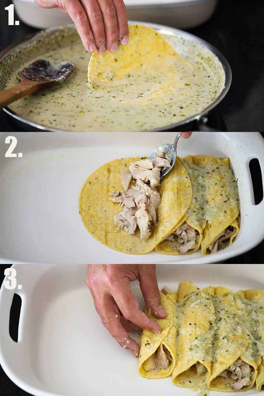 3 stacked photos, with the 1st a hand dipping a corn tortilla into a skillet of verde sauce, the 2nd a hand placing chicken inside the corn tortillas in a baking dish, and 3rd the same hand folding over the tops of the enchilada.