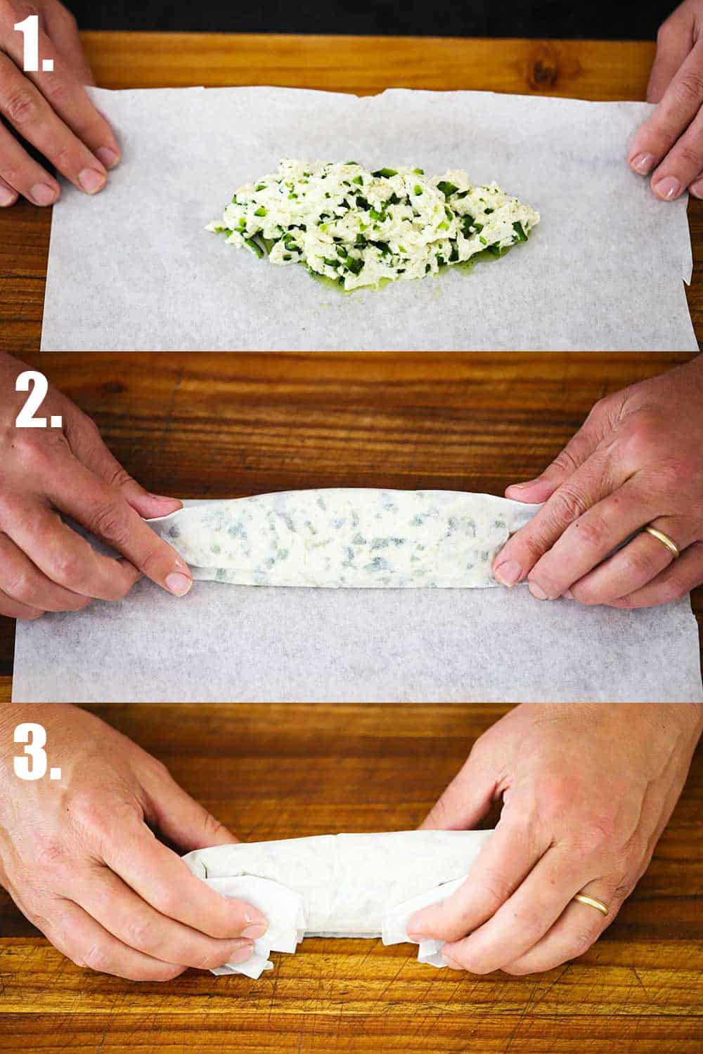 3 stacked photos, the 1st is a rectangle shape of softened butter with peppers mixed in all on parchment paper, next to hands rolling the parchment paper over the butter, the 3rd the two hands folding in the ends of the paper.
