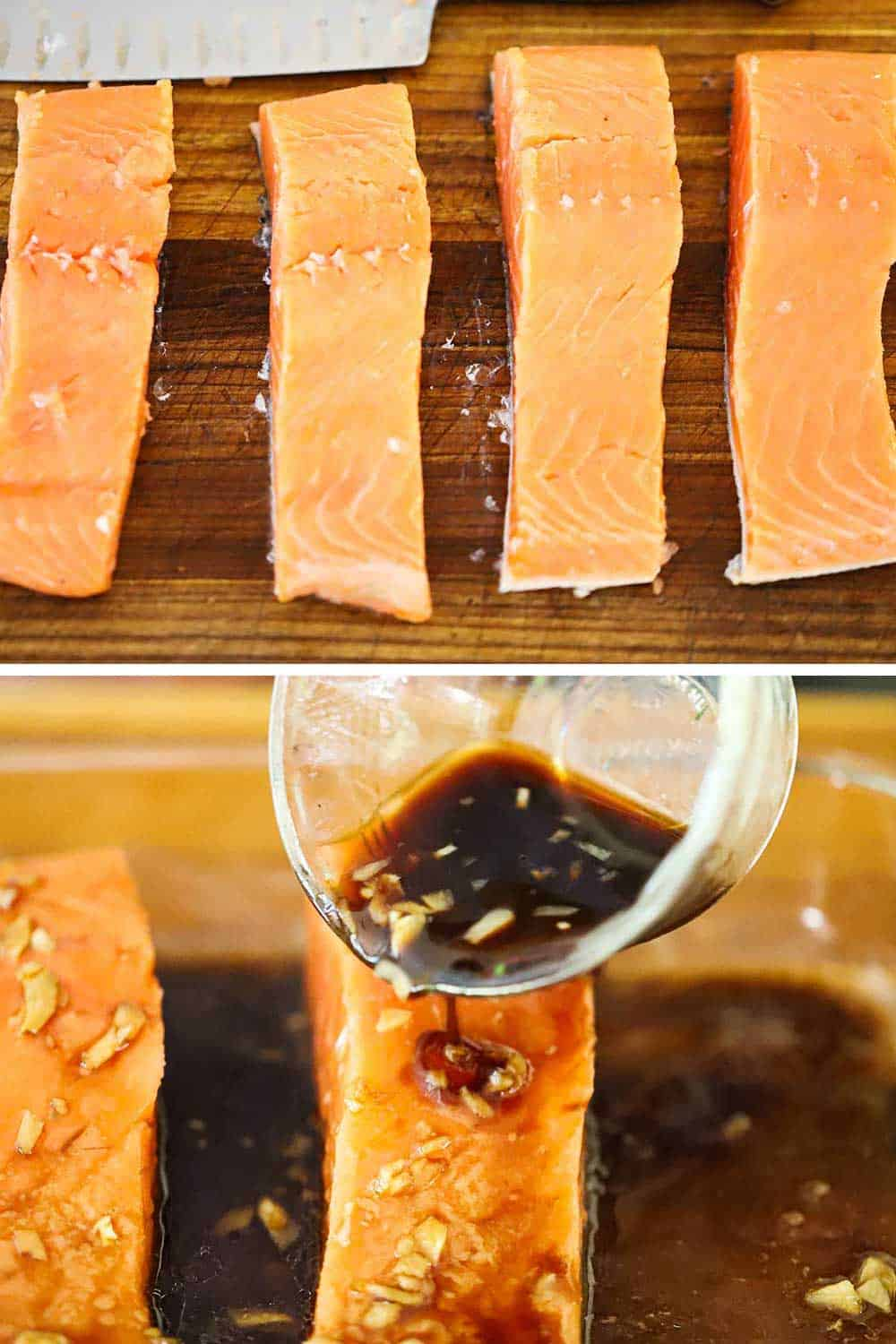 2 stacked images with the top 4 fresh salmon fillets and the bottom a small glass bowl that a dark marinade is being poured over the salmon.
